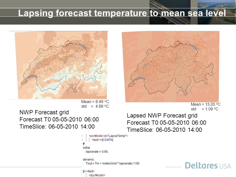 Lapsing forecast temperature to mean sea level
