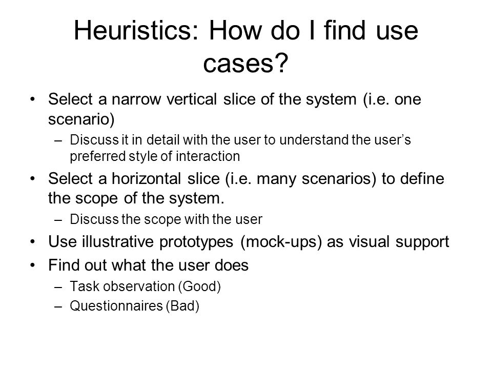 Heuristics: How do I find use cases