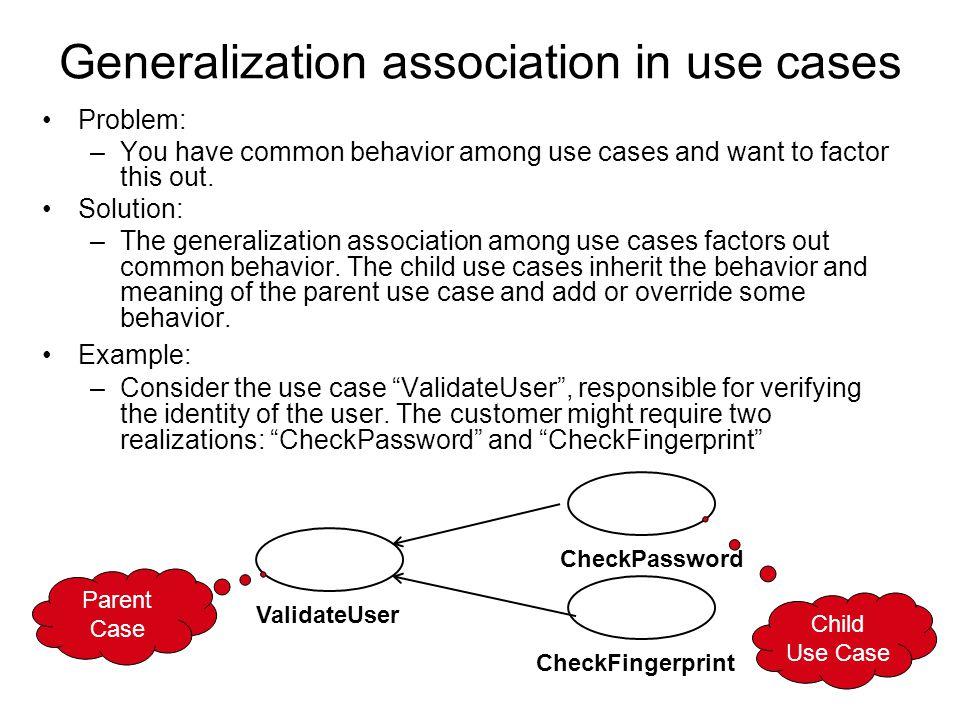 Generalization association in use cases