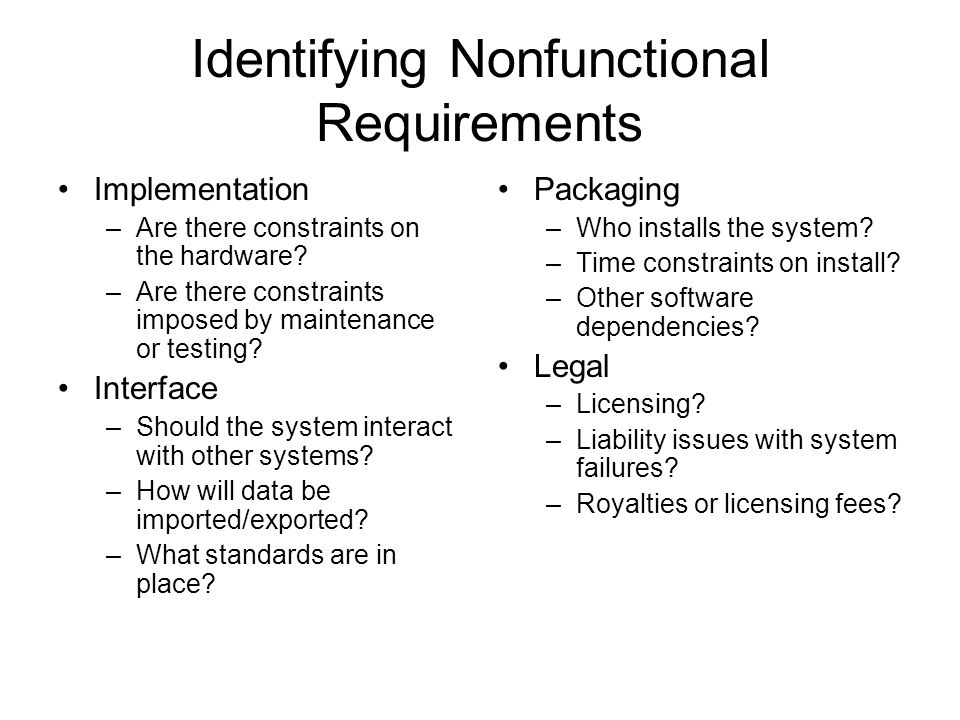 Identifying Nonfunctional Requirements