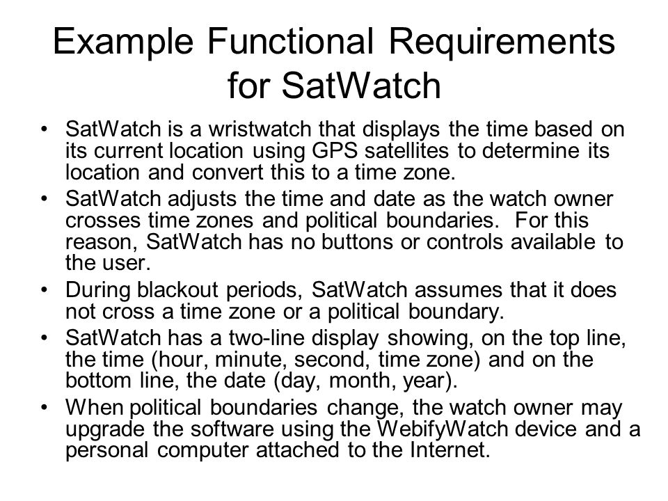 Example Functional Requirements for SatWatch