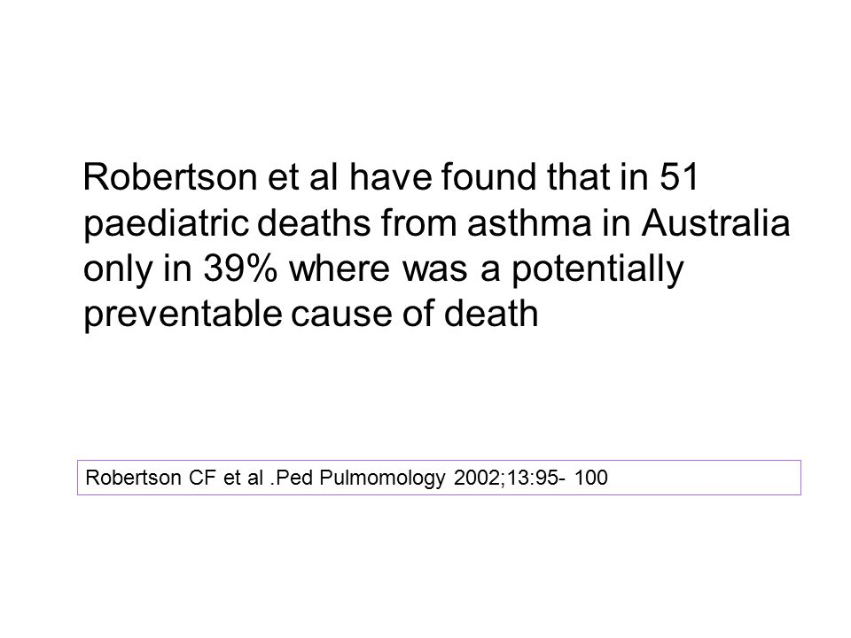 Robertson et al have found that in 51 paediatric deaths from asthma in Australia only in 39% where was a potentially preventable cause of death