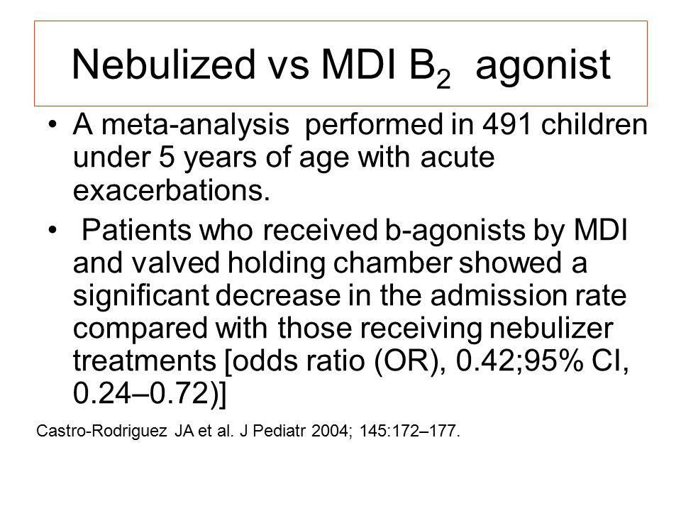 Nebulized vs MDI B2 agonist