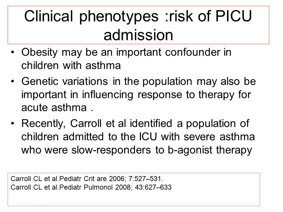 Clinical phenotypes :risk of PICU admission