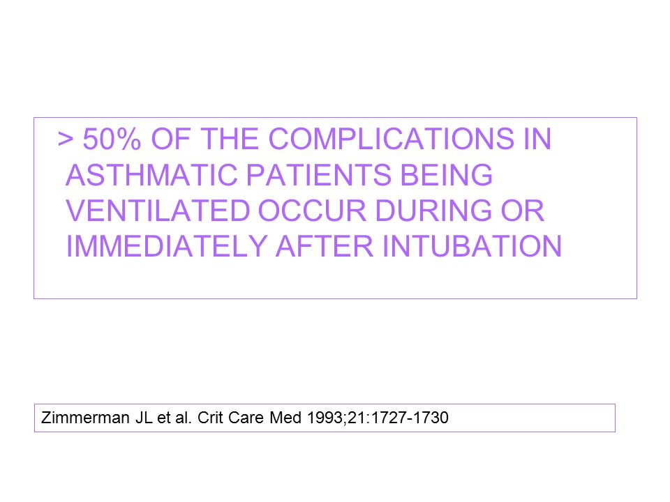 > 50% OF THE COMPLICATIONS IN ASTHMATIC PATIENTS BEING VENTILATED OCCUR DURING OR IMMEDIATELY AFTER INTUBATION
