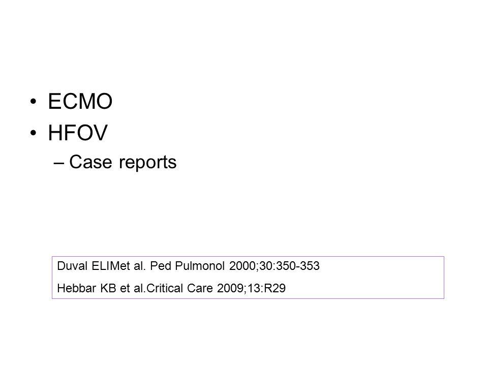 ECMO HFOV Case reports Duval ELIMet al. Ped Pulmonol 2000;30:350-353