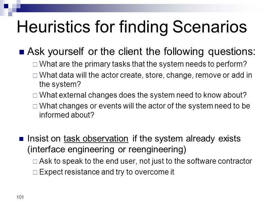Heuristics for finding Scenarios