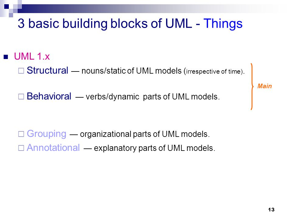 3 basic building blocks of UML - Things