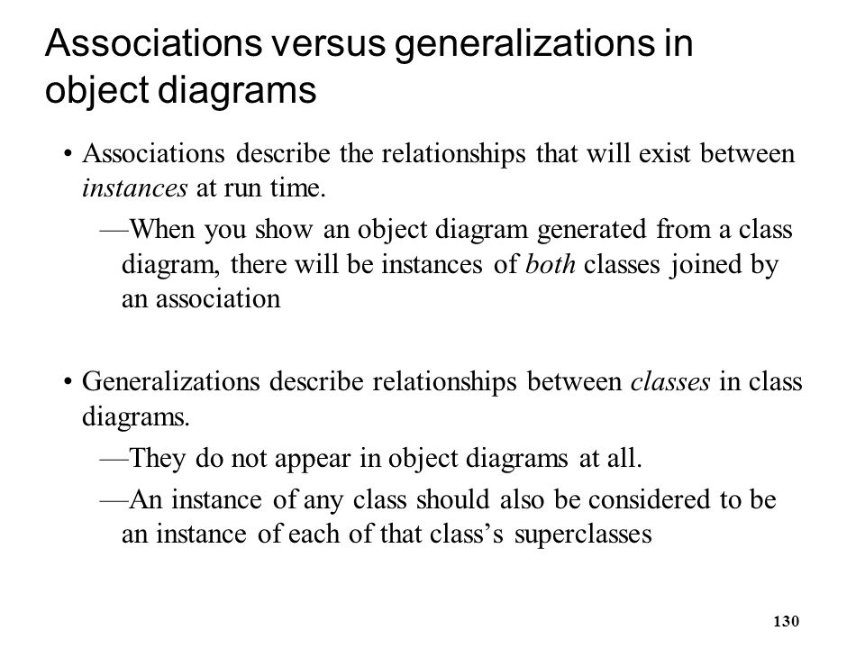 Associations versus generalizations in object diagrams