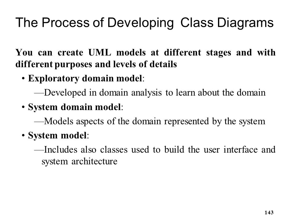 The Process of Developing Class Diagrams
