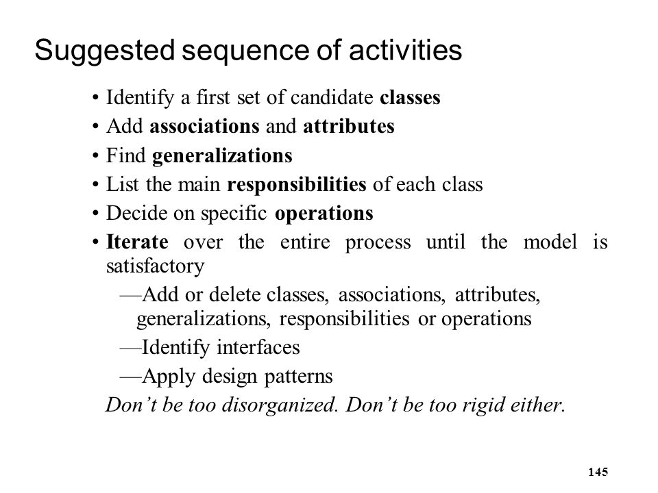 Suggested sequence of activities