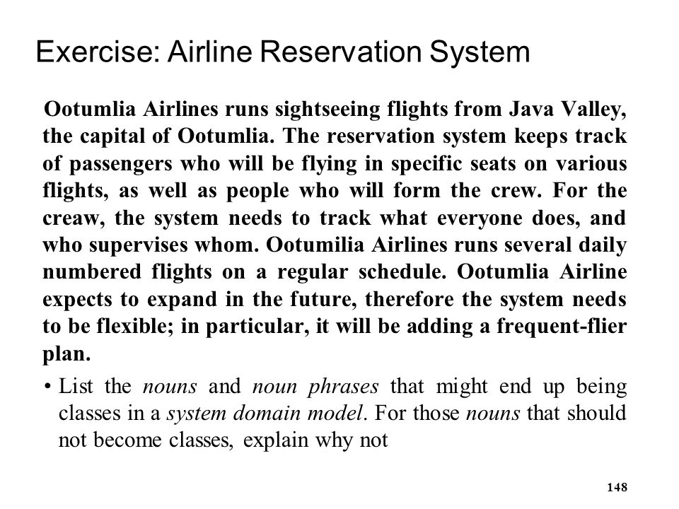 Exercise: Airline Reservation System