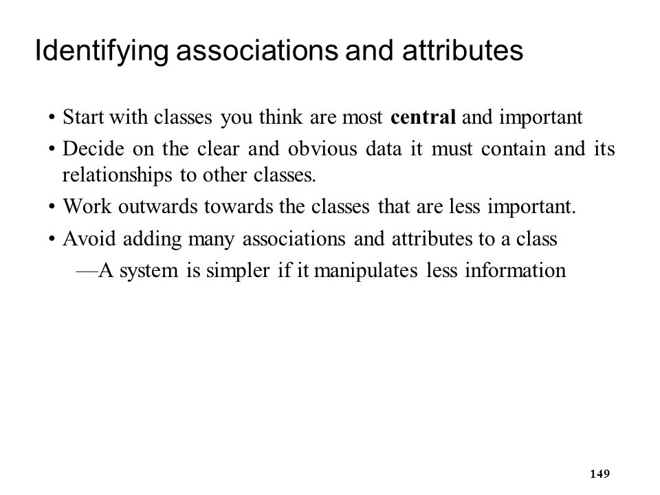 Identifying associations and attributes