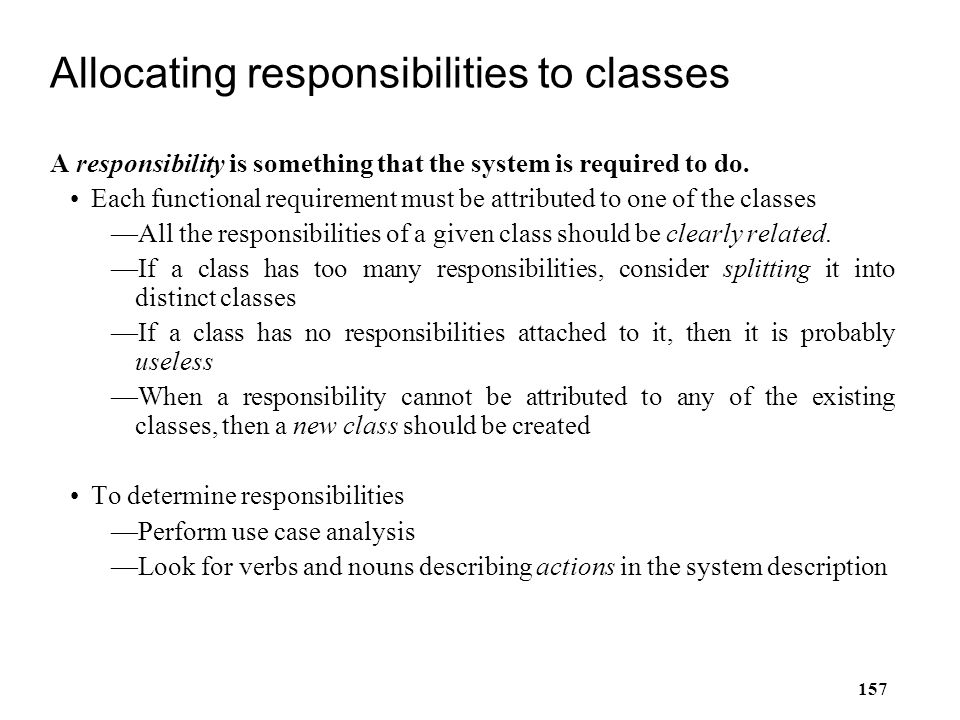 Allocating responsibilities to classes