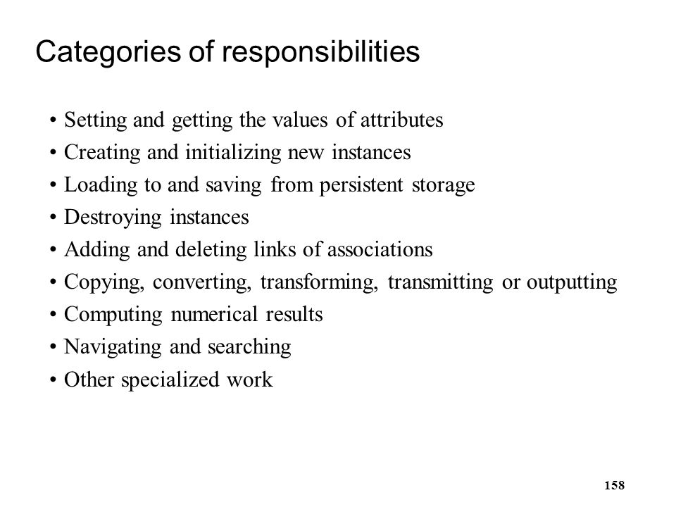 Categories of responsibilities