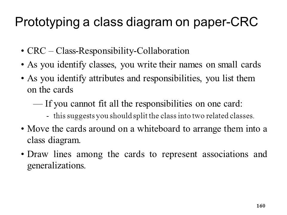 Prototyping a class diagram on paper-CRC