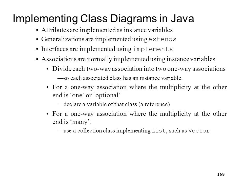 Implementing Class Diagrams in Java