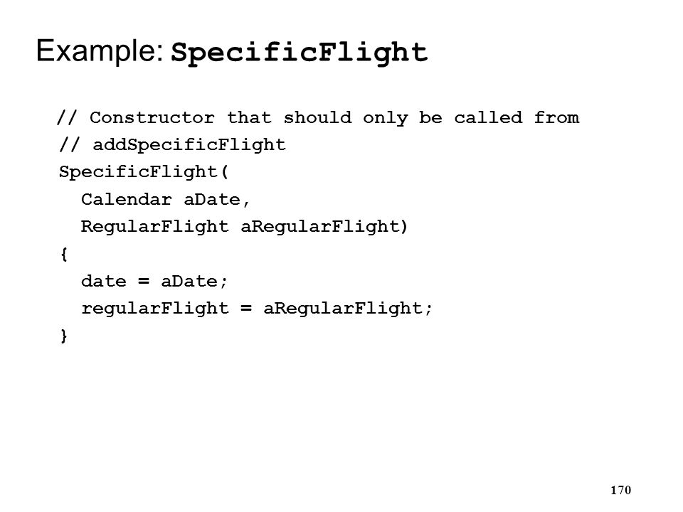 Example: SpecificFlight