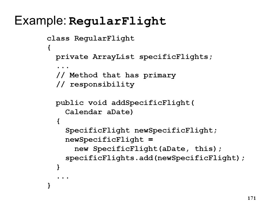Example: RegularFlight