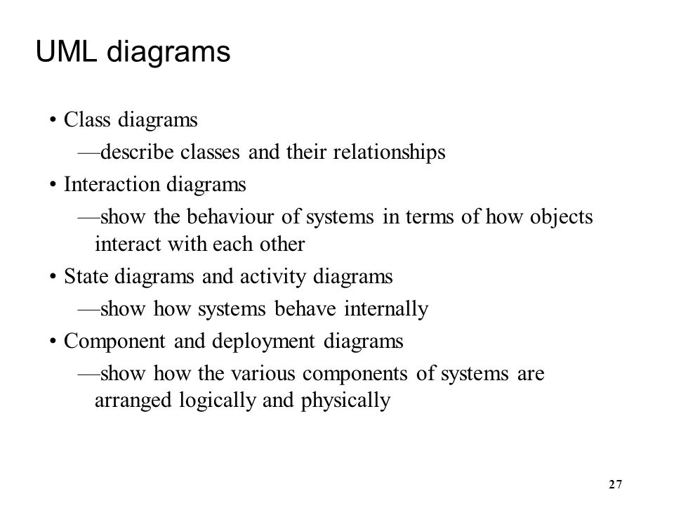 UML diagrams Class diagrams describe classes and their relationships