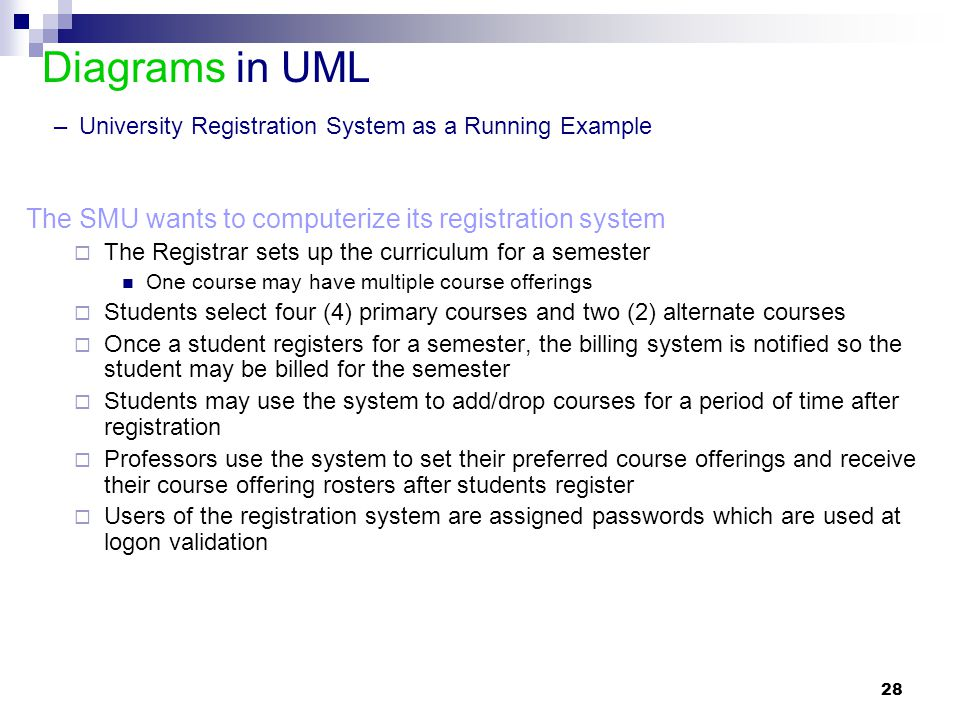 Diagrams in UML – University Registration System as a Running Example