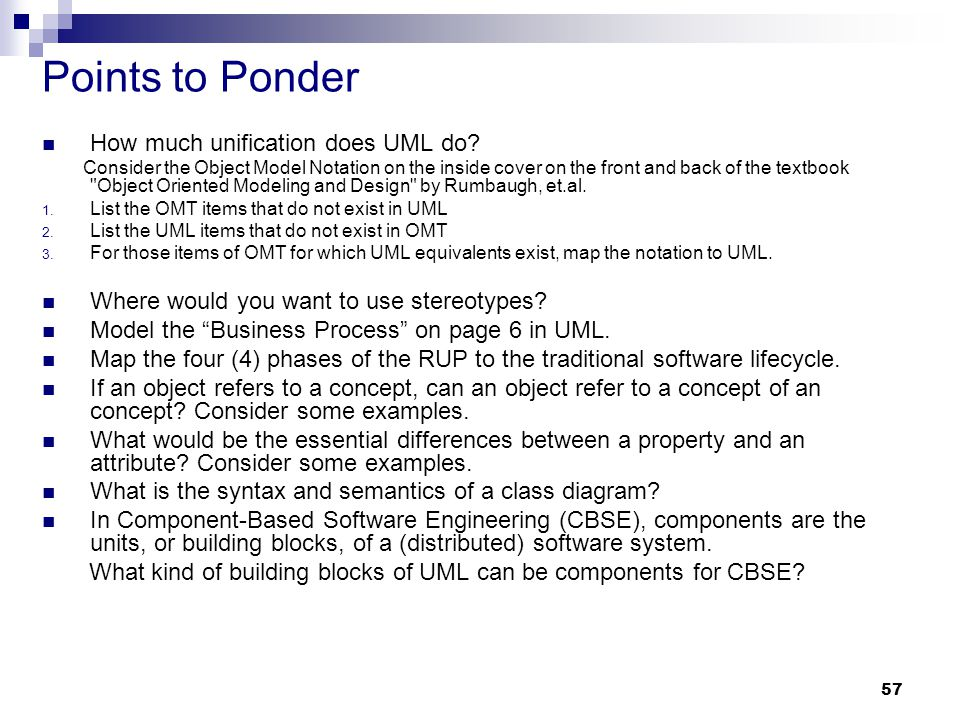 Points to Ponder How much unification does UML do