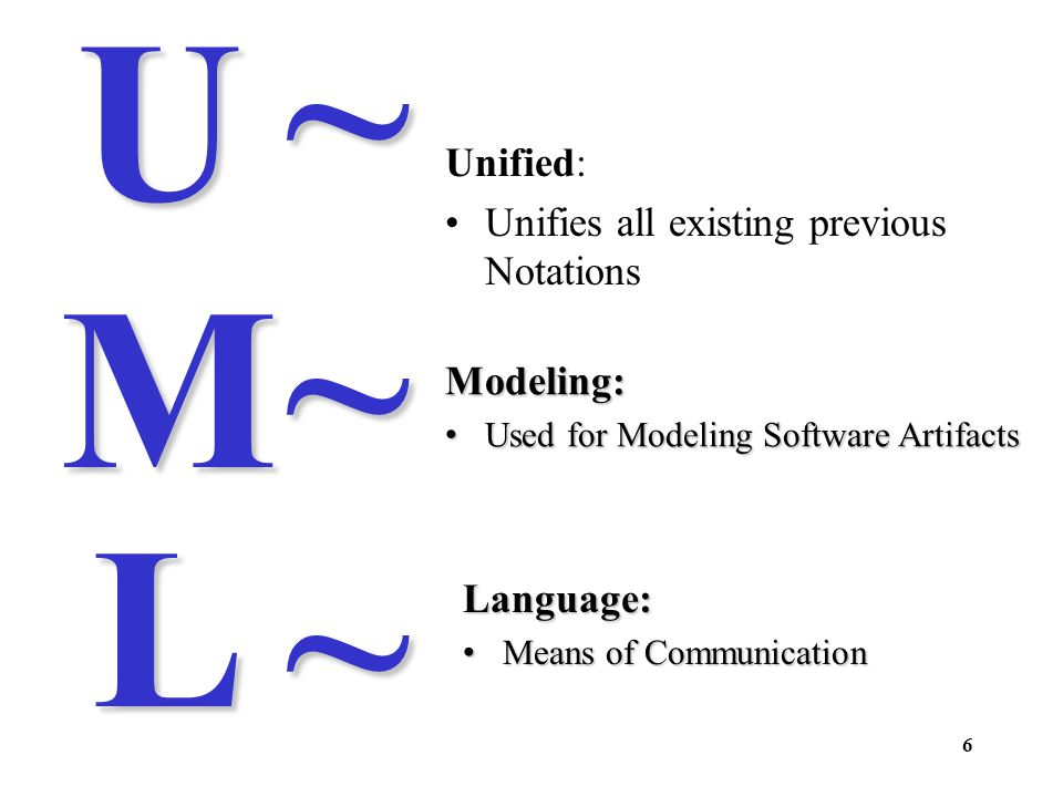~ U ~ M L ~ Unified: Unifies all existing previous Notations Modeling: