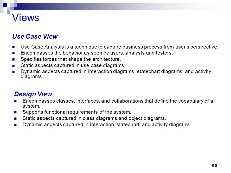 Views Use Case View Design View