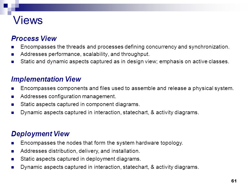 Views Process View Implementation View Deployment View