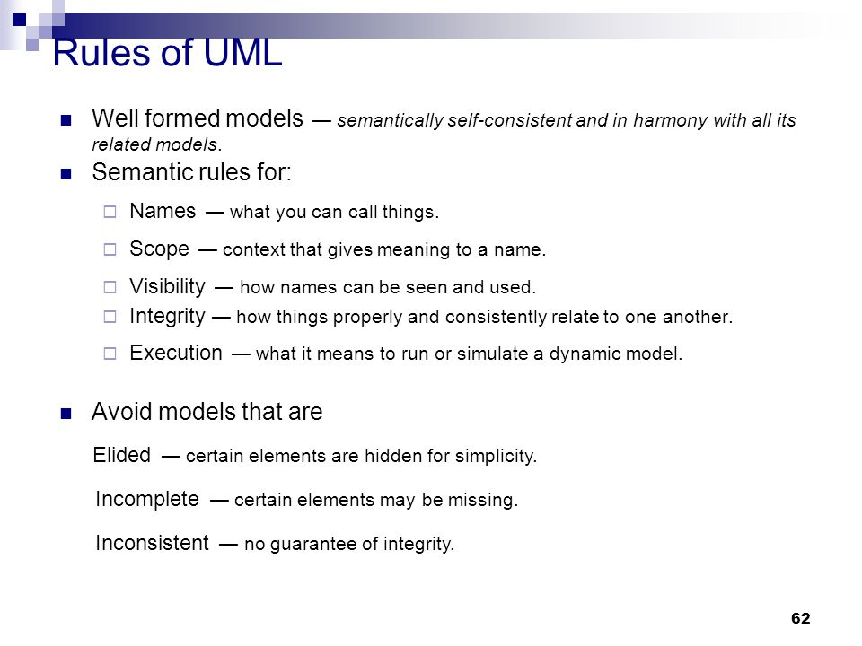 Rules of UML Well formed models — semantically self-consistent and in harmony with all its related models.