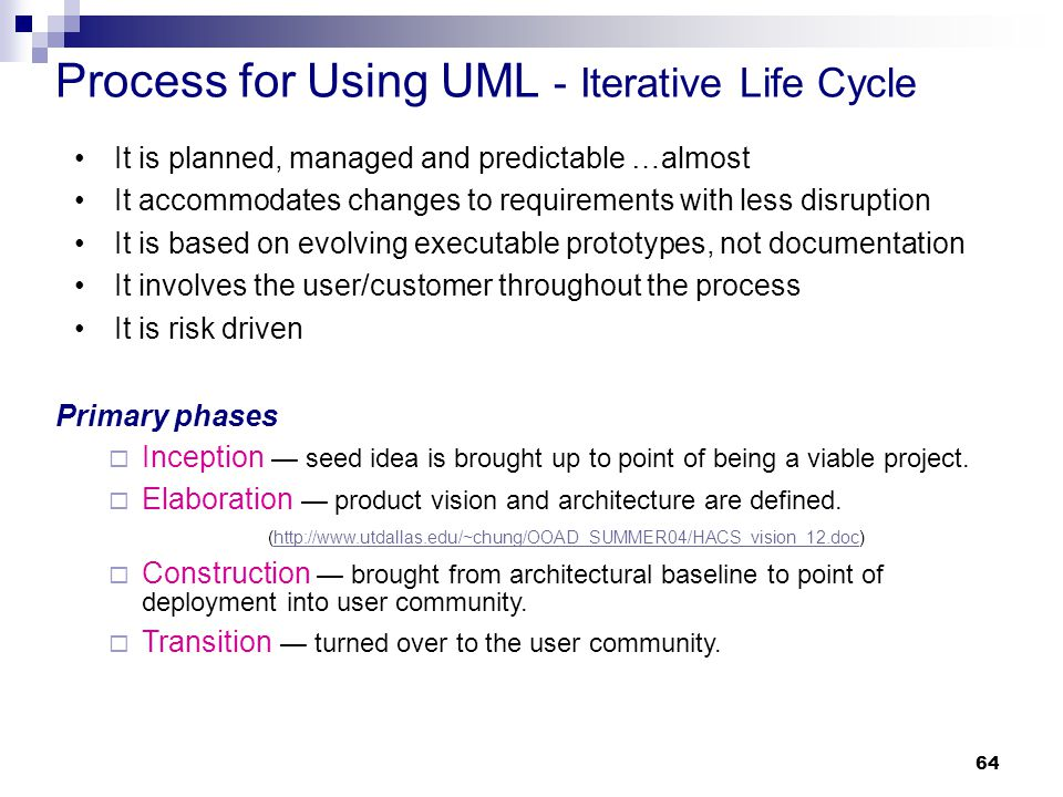 Process for Using UML - Iterative Life Cycle
