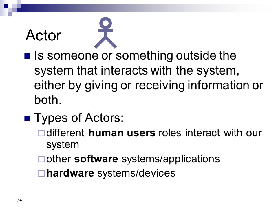 Actor Is someone or something outside the system that interacts with the system, either by giving or receiving information or both.