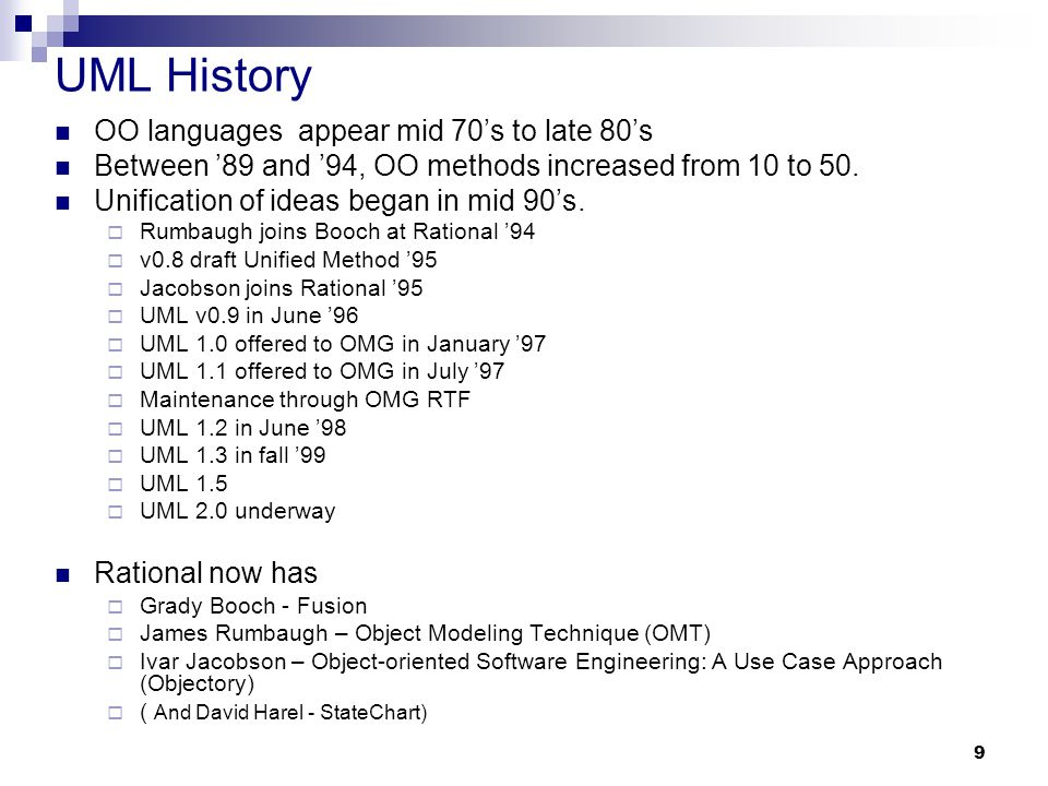 UML History OO languages appear mid 70's to late 80's