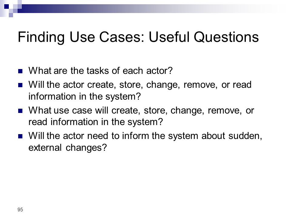 Finding Use Cases: Useful Questions