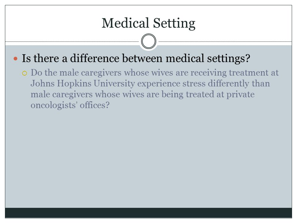 Medical Setting Is there a difference between medical settings