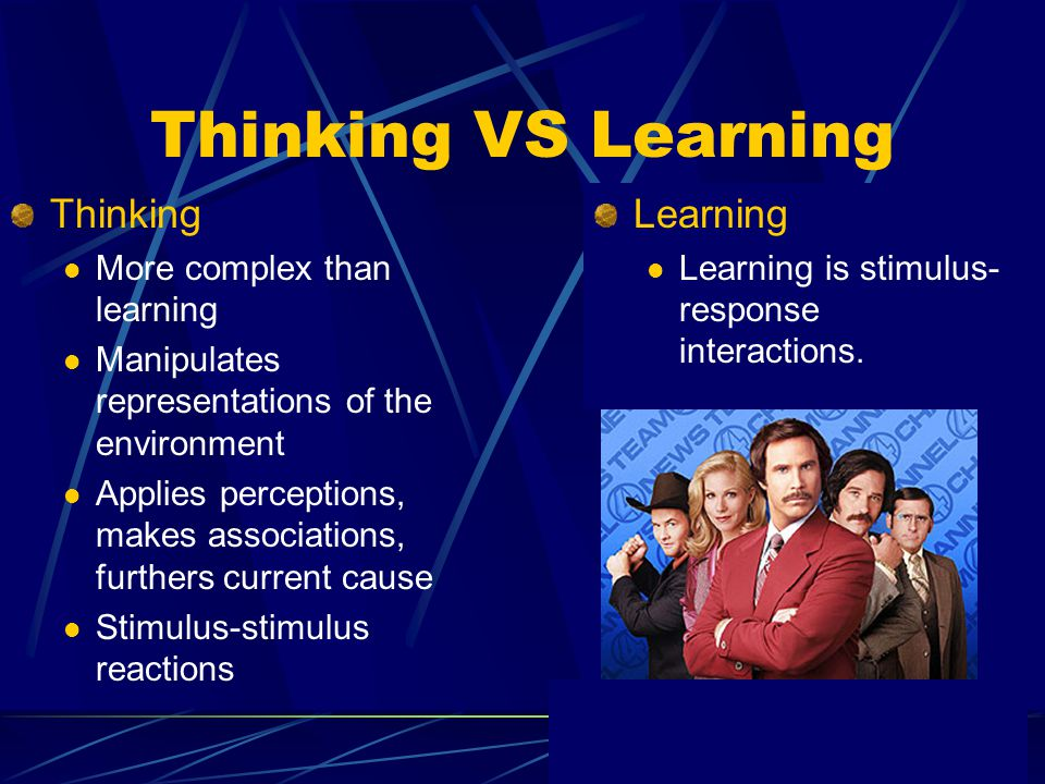 Thinking VS Learning Thinking Learning More complex than learning