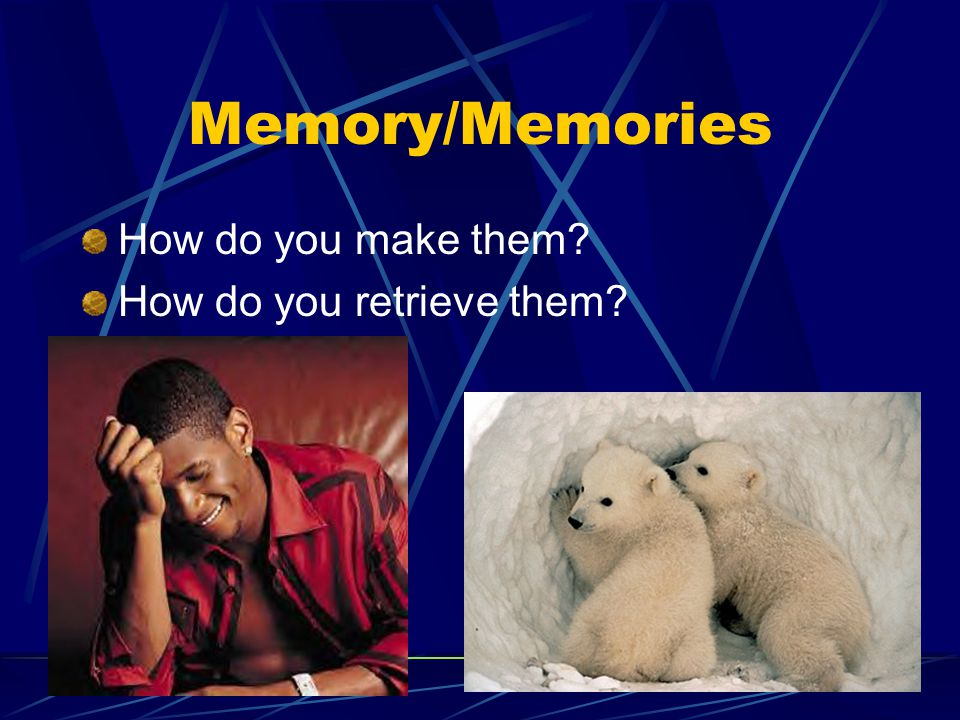 Memory/Memories How do you make them How do you retrieve them