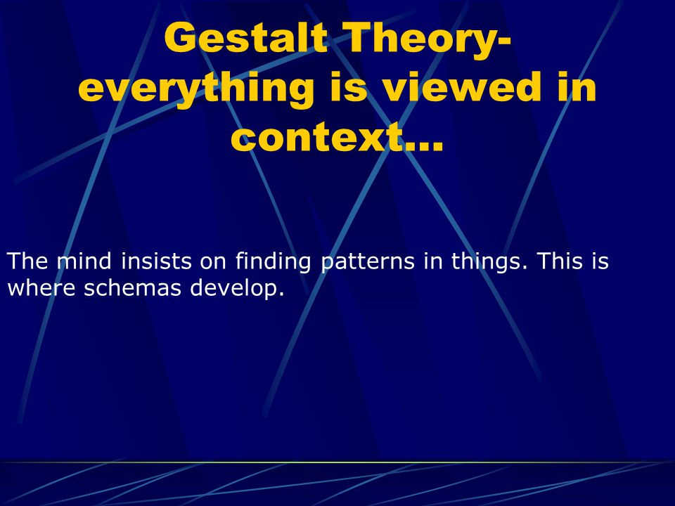 Gestalt Theory- everything is viewed in context…