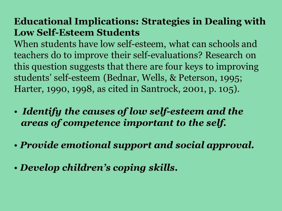Educational Implications: Strategies in Dealing with Low Self-Esteem Students