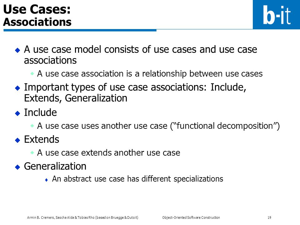 Use Cases: Associations