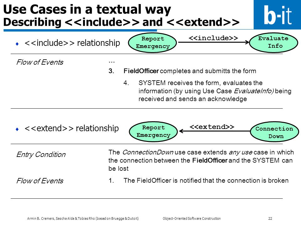 Use Cases in a textual way Describing <<include>> and <<extend>>