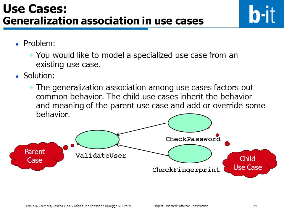 Use Cases: Generalization association in use cases