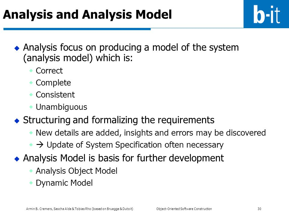 Analysis and Analysis Model
