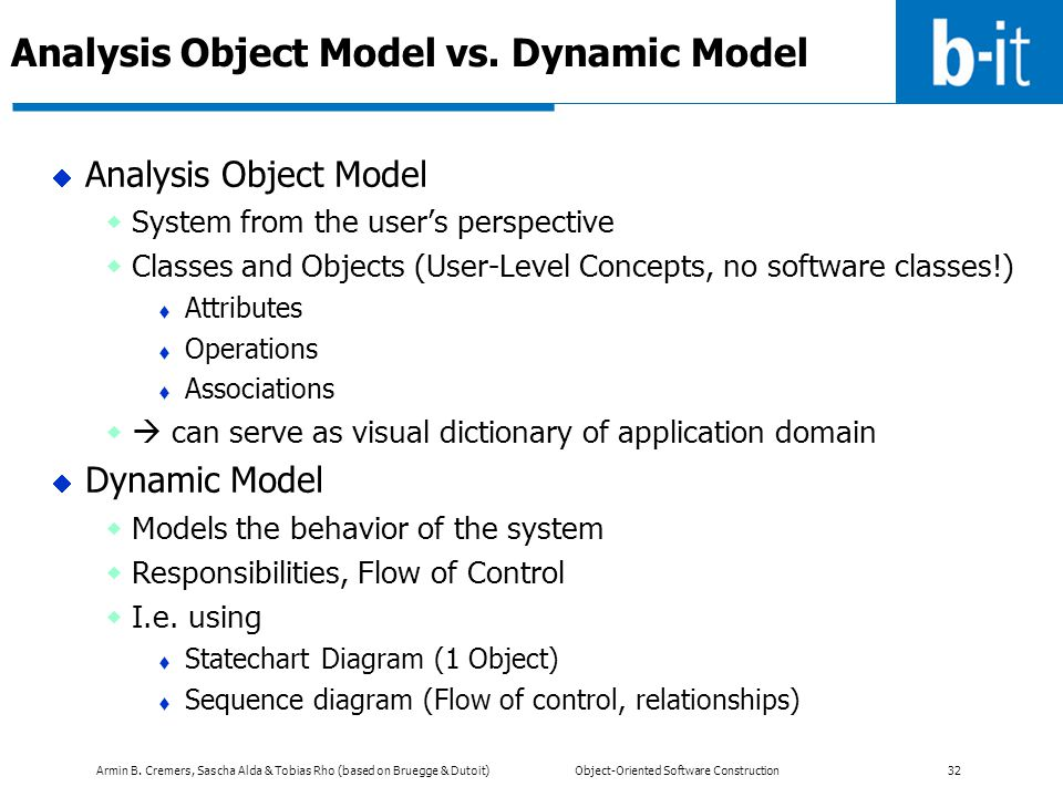 Analysis Object Model vs. Dynamic Model