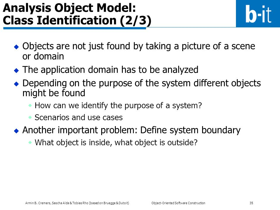 Analysis Object Model: Class Identification (2/3)