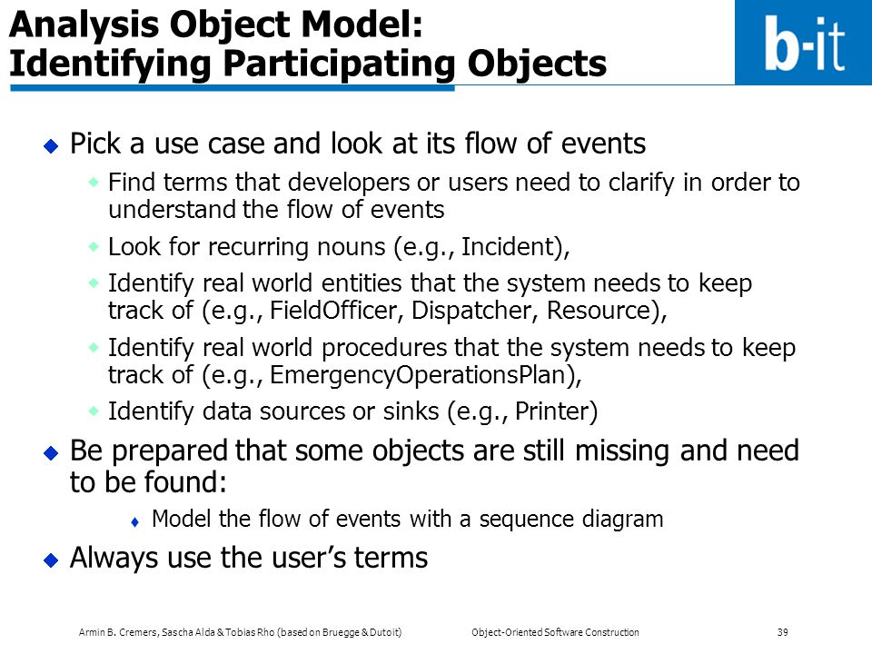 Analysis Object Model: Identifying Participating Objects