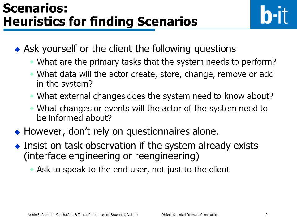 Scenarios: Heuristics for finding Scenarios
