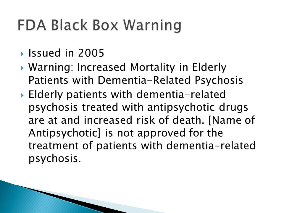 FDA Black Box Warning Issued in 2005