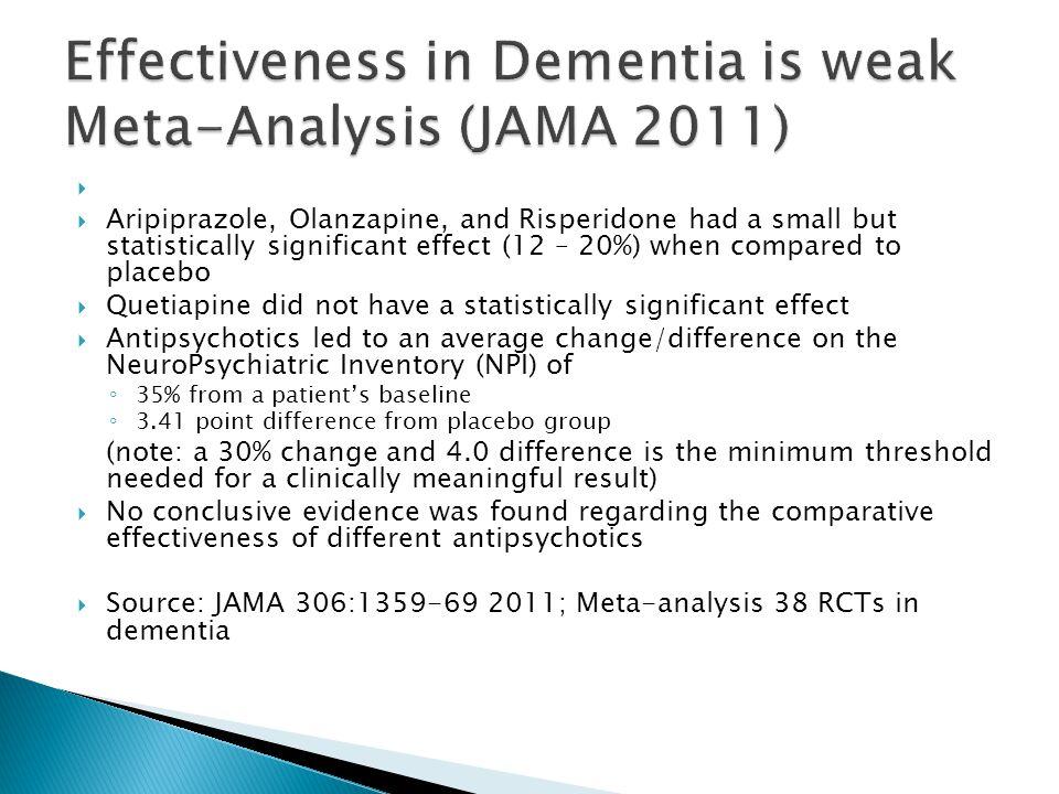 Effectiveness in Dementia is weak Meta-Analysis (JAMA 2011)