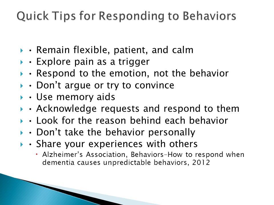 Quick Tips for Responding to Behaviors